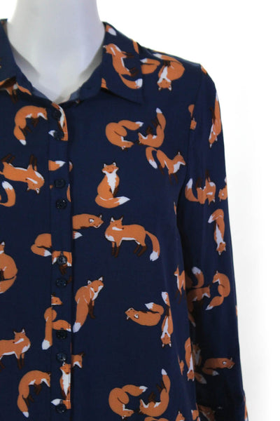 Modcloth Womens Playful Fox Buttondown Always Polished Blouse Size Small Lot 2