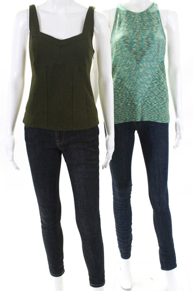 Anthropologie Womens Gemma Kyla Sleeveless Tank Tops Green Size Small Lot 2