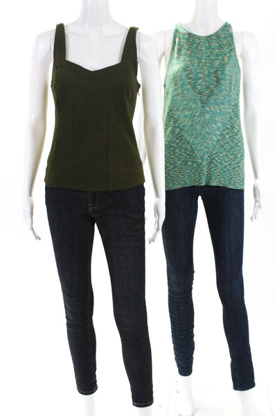 Anthropologie Womens Gemma Kyla Knit Sleeveless Tank Top Green Size Medium Lot 2
