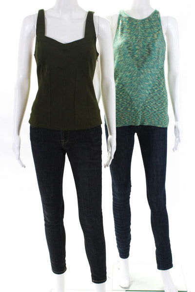Anthropologie Womens Gemma Kyla Knit Tank Tops Green Size Large Petite Lot 2
