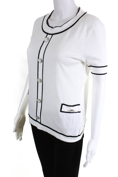 Weill Womens Short Sleeve Crew Neck Sweater White Black Piping Cotton Size 6