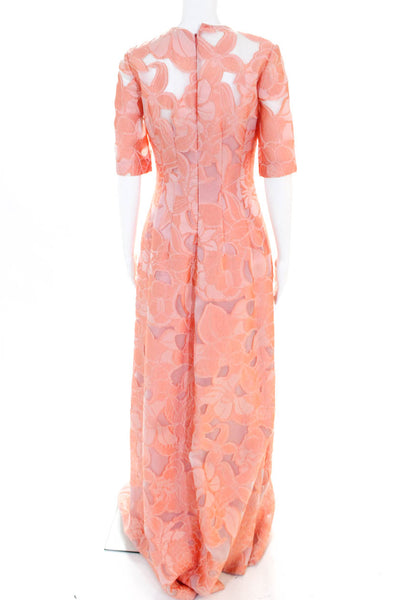 Lela Rose Women's Holly Elbow Sleeve Gown Blush Size Small