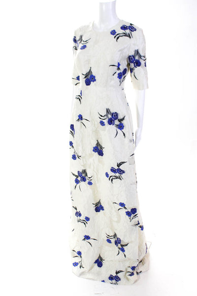 Lela Rose Womens Holly Elbow Sleeve Floral Full Length A-Line Gown Ivory Size 8