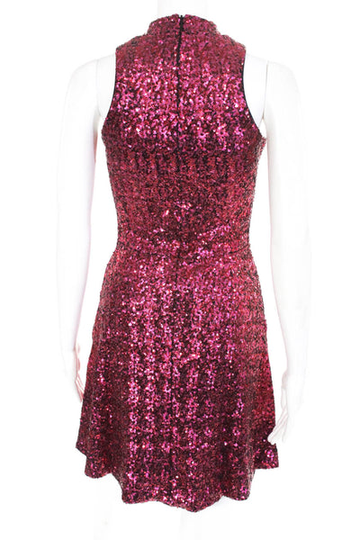 Dress the Population Womens Back Zip Crew Neck Sequin Sheath Pink Extra Small
