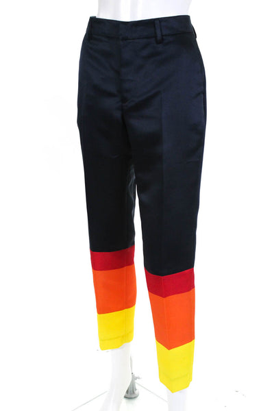 PT01 Womens Zipper Fly Pleated Rainbow Bottom Trouser Pants Navy Blue Size EU 42