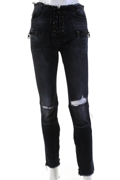 Unravel Womens Cotton Rinse Lace Up Distressed Skinny Denim Jeans Black Size 26