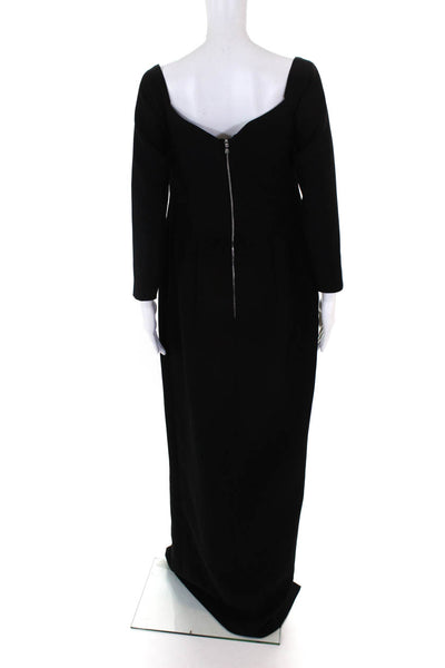 Rosario Womens Long Sleeve Cold Shoulder Crepe Corset Dress Black Size FR 44 12