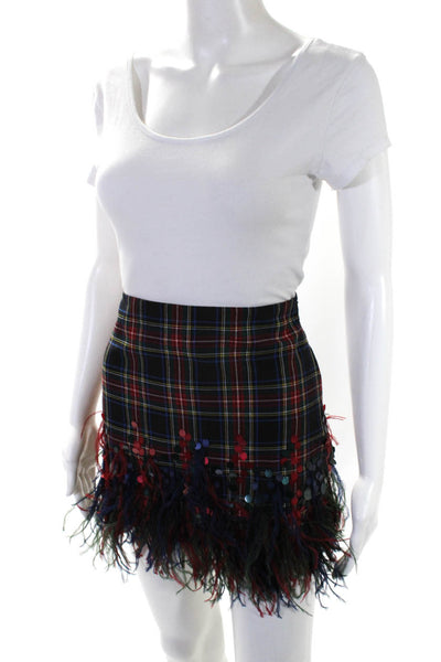 Roberta Einer Womens Green Red Plaid Sequin Feather Mini Skirt Wool Size S