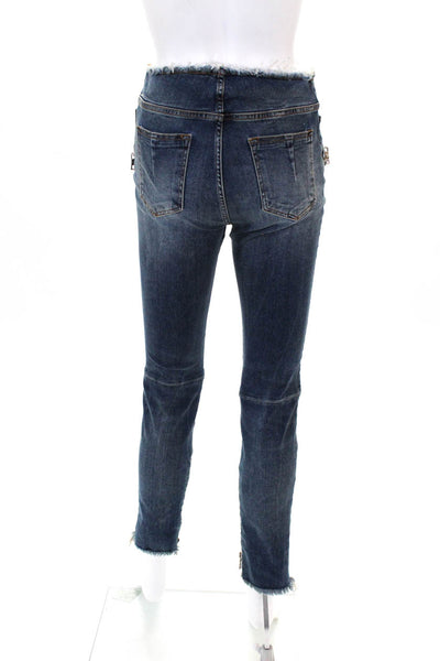 Unravel Womens Indigo Stone Lace Up Distressed Skinny Denim Jeans Cotton Size 28