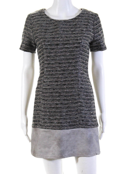 Tart Womens Short Sleeve Faux Leather Tweed Sheath Dress Gray Size Extra Small