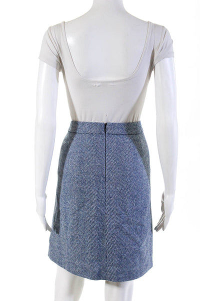 Boden Womens Mid Rise Tweed A Line Mini Skirt Blue White Wool Size 18