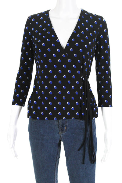 Bailey 44 Womens 3/4 Sleeve Layered Dot Wrap Shirt Black Blue Size Extra Small