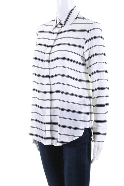 BB Dakota Womens Long Sleeve Button Front Stripe Blouse Top White Size Small