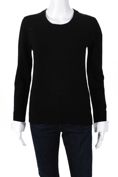 BB Dakota Womens Faux Cuff Sleeved Crewneck Sweater Black Size Extra Small
