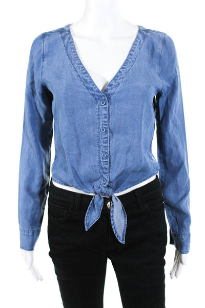 BB Dakota Womens Long Sleeve Tie Front Button Down Top Blue Size S