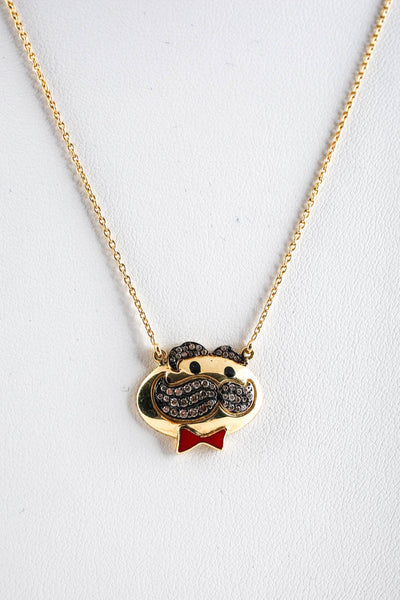 Designer 18KT Yellow Gold Diamond Enamel Potato Chip Face Pendant Necklace