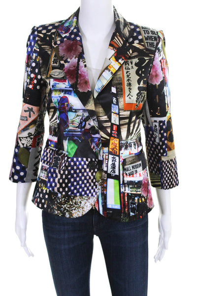 Libertine Womens Memento Mori Mixed Media Two-Button Wool Blazer Black Size M