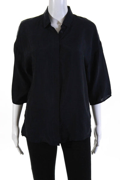 French Connection Womens Oversize Collared Button Up Shirt Blue Size Extra Small