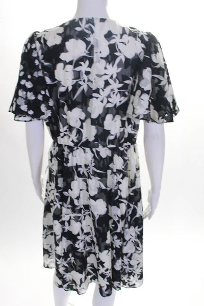 French Connection Womens Ruffle Sleeve V Neck Floral Wrap Dress Black Size 4