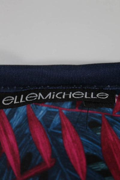 Ellemichelle Womens Floral Print Reversible Tank Top Navy Blue Size Small