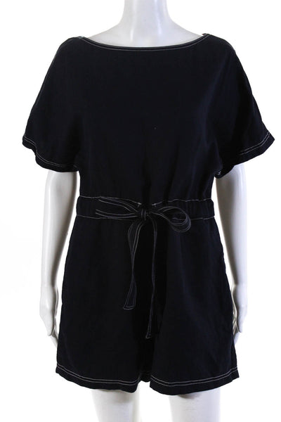 French Connection Women's Contrast Stitching Blend Romper Navy Blue Size 10