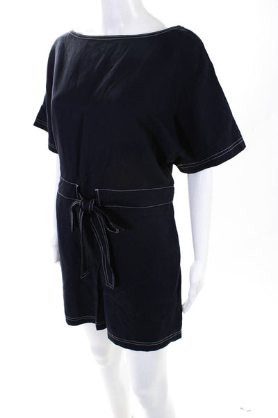 French Connection Women's Blend Contrast Stitching Romper Navy Blue Size 8