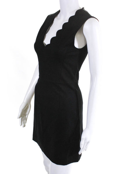 French Connection Womens Sleeveless Scalloped V-Neck Shift Dress Black Size 2
