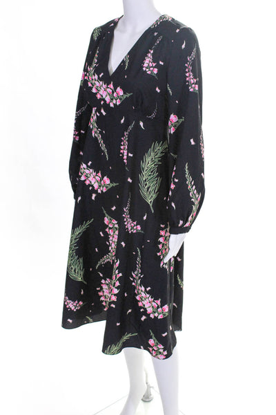 Soon Maternity Womens Bell Sleeve Printed Flare Dress Black Pink Floral size XS