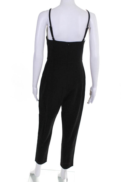 French Connection Womens Sleeveless Square Neck Flared Jumpsuit Black Size 12