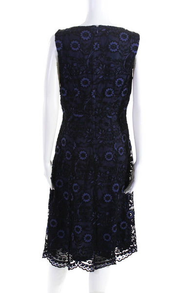 Adrianna Papell Womens Floral Print Lace V Neck Gown Navy Blue Black Size 6