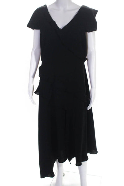 Adrianna Papell Womens Cap Sleeve V-Neck Asymmetric Ruffle Dress Black Size 12