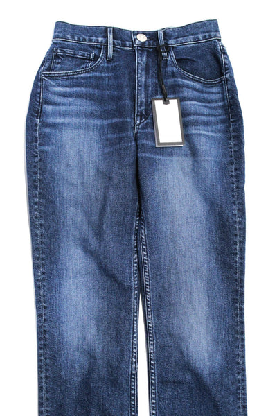 3x1 NYC Womens Blue Cotton High Waisted Distressed Hem Straight Leg Jeans Size 2