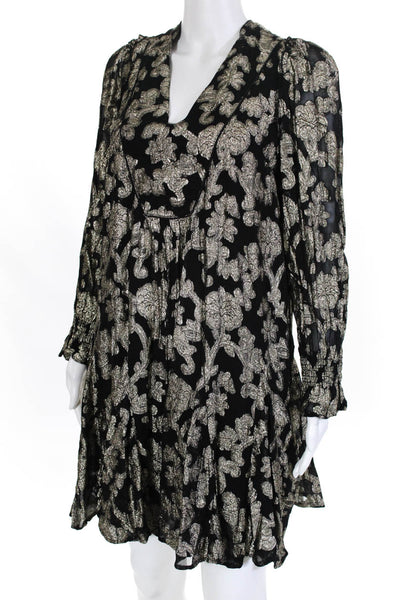 Anthropologie Womens Metallic Floral Bell Sleeve Mini Shift Dress Size Small