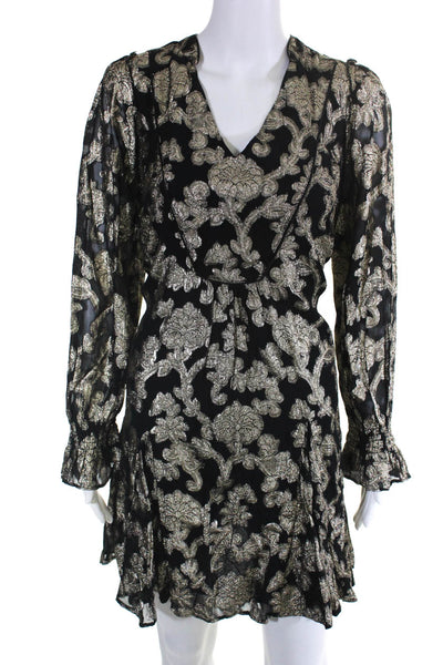 Anthropologie Womens Long Sleeve Floral Deep V Lurex Dress Black Gold Size M