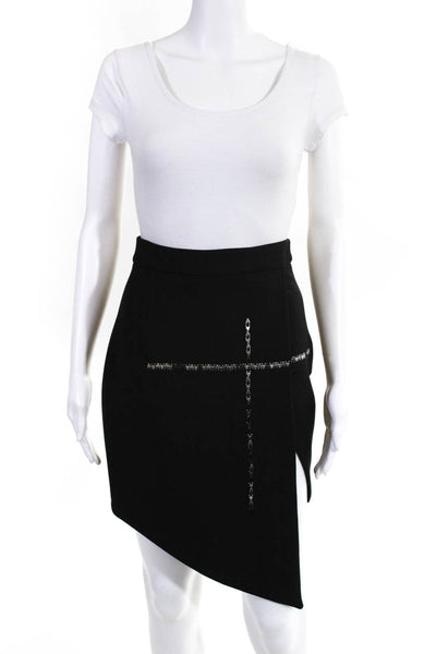 Villalba Womens Metal Embellished Embroidery Asymmetrical Skirt Size French 40