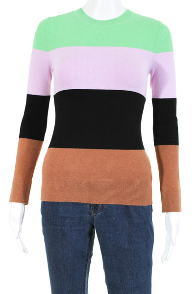 Joos Tricot Womens Crew Neck Stripe Sweater Multi Color Size Medium