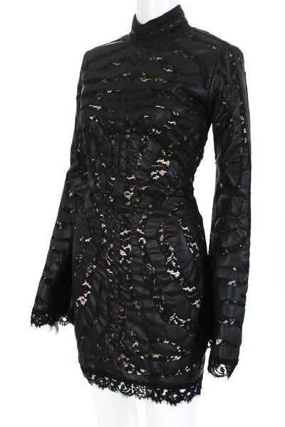Amen Womens Leather Lace Long Sleeve Mini Dress Black Euro 42