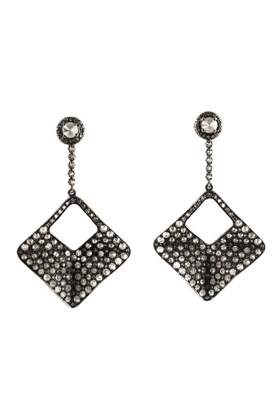 "Sally Sohn Diamond 2.5"" Drop Dangle Earrings"
