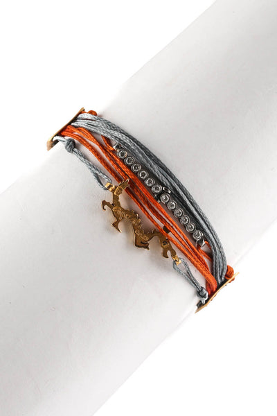 Apriati 18kt Yellow Gold Diamond Dragon 7 Cord Orange Gray Bracelet