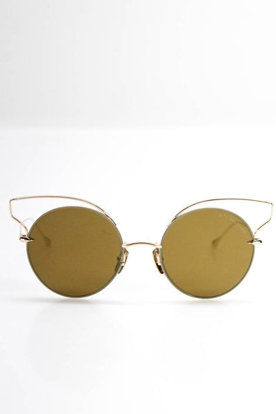 DITA Womens 23008-B Believer Metal Reflective Round Sunglasses Gold Tone