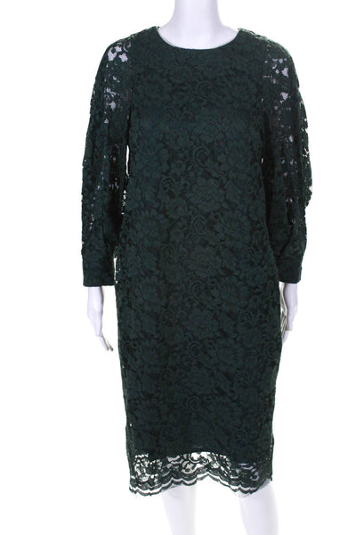 Room No.8 Womens Floral Lace Overlay Midi Sheath Dress Hunter Green Size 4
