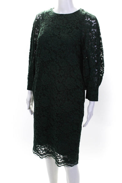 Room No.8 Womens Long Sleeve Crew Neck Lace Overlay Sheath Dress Green Size 2