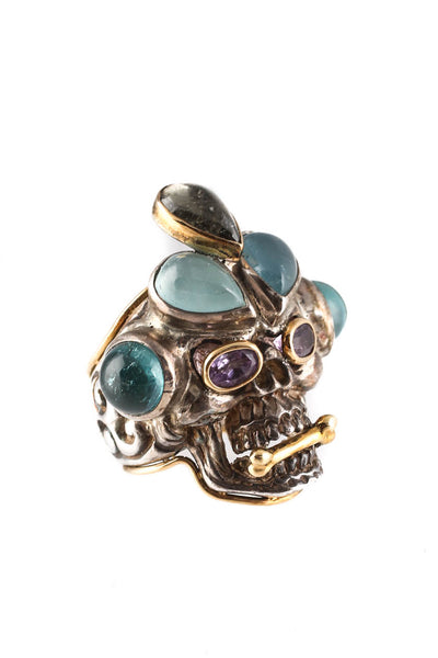 Pietra Dura 18KT Yellow Gold Sterling Silver Tourmaline Skull Ring Size 7