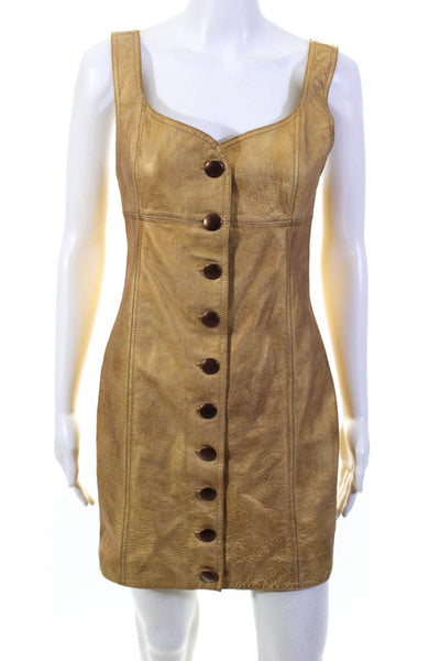 Free People Womens Goldie Mini Dress Gold Leather Size 0