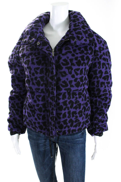 Apparis Womens Paula Animal Print Zip Puffer Jacket Purple Size Small