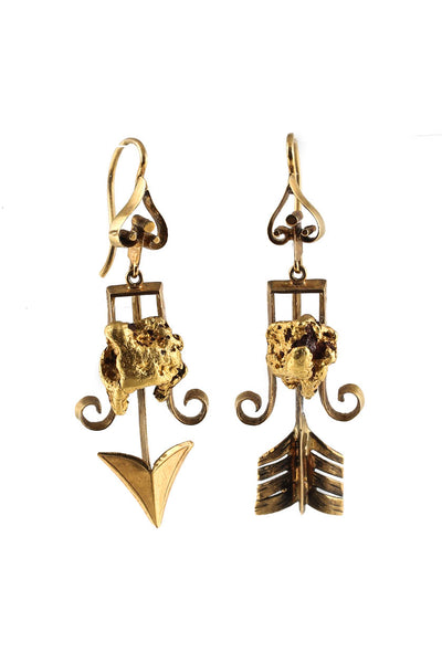 Designer Victorian Yellow Gold Arrow Dangle Earrings