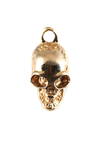 Designer 18KT Yellow Gold 18mm Skull Charm Pendant
