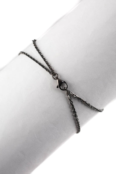 Designer Black Diamond Sterling Silver Peace Sign Bracelet