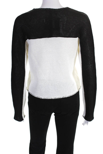 Paula Hian Womens Woven Claudine Zip Up Cardigan White Yellow Black Size Small