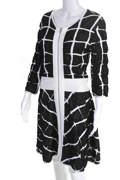 Paula Hian Womens 3/4 Sleeve Claribel Geo Dress Black White Size Large